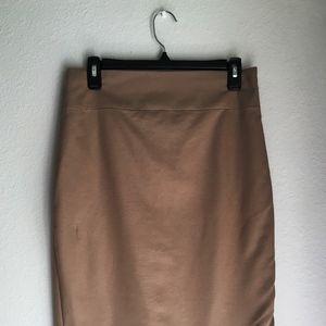 Tan Women's Express High Waist Midi Pencil Skirt